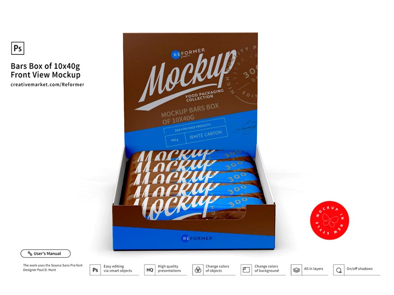 Bars Box of 10x40g Front View Mockup template screw product smart object packaging package psd object mockups mockup