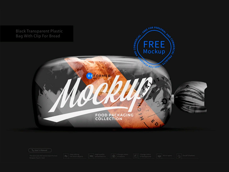 Black Transparent Plastic Bag with Clip for Bread Free Mockup template screw product smart object packaging package psd object mockups mockup