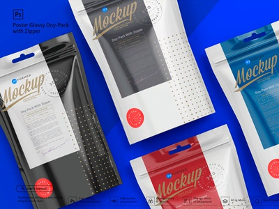 Glossy Doy-Pack with Zipper Poster​​​​​​​ Mockup​​​​​​​