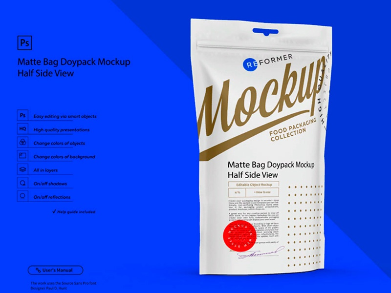Matte Bag Doypack Mockup Half Side View template screw product smart object packaging package psd object mockups mockup