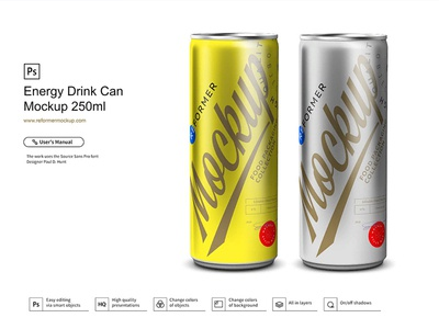 Energy Drink Can Mockup 250ml