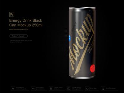 Energy Drink Black Can Mockup 250ml