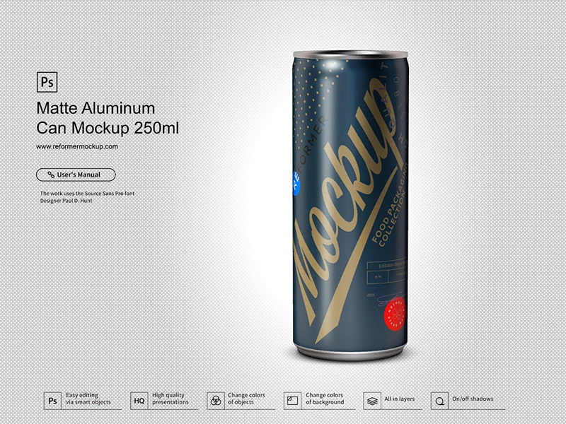 Matte Aluminum Can Mockup 250ml psd mockup packaging design nectar mock-up metal juice exclusive beverage beer aluminum aluminium energy drink cola coke coffee cider carbonated can matte. black