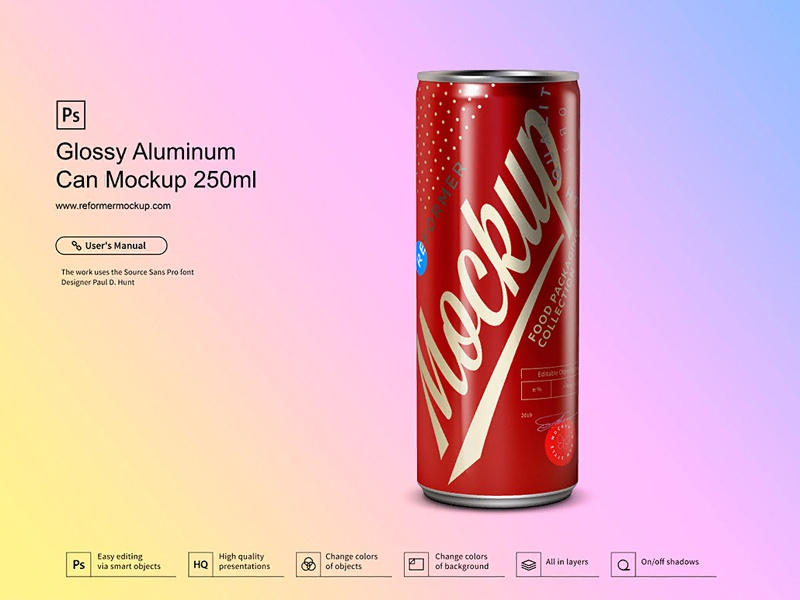 Glossy Aluminum Can Mockup 250ml psd mockup packaging design nectar mock-up metal juice exclusive beverage beer aluminum aluminium energy drink cola coke coffee cider carbonated can glossy. black