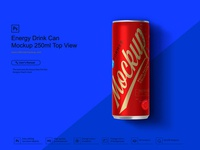 Energy Drink Can Mockup 250ml Top View