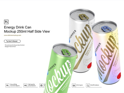 Energy Drink Can Mockup 250ml Half Side View soda psd mockup packaging design nectar mock-up metal juice exclusive beverage beer aluminum aluminium energy drink cola coke coffee cider carbonated can