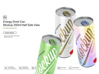 Energy Drink Can Mockup 250ml Half Side View