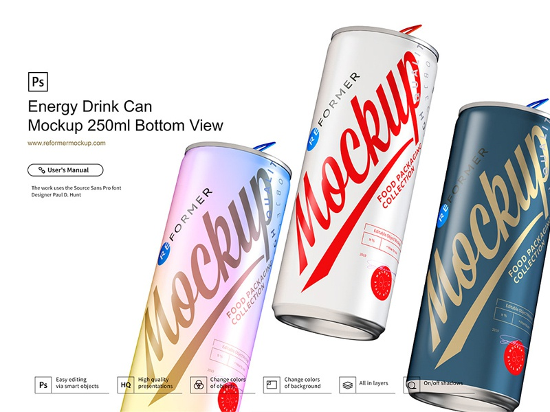 Energy Drink Can Mockup 250ml Bottom View soda psd mockup packaging design nectar mock-up metal juice exclusive beverage beer aluminum aluminium energy drink cola coke coffee cider carbonated can
