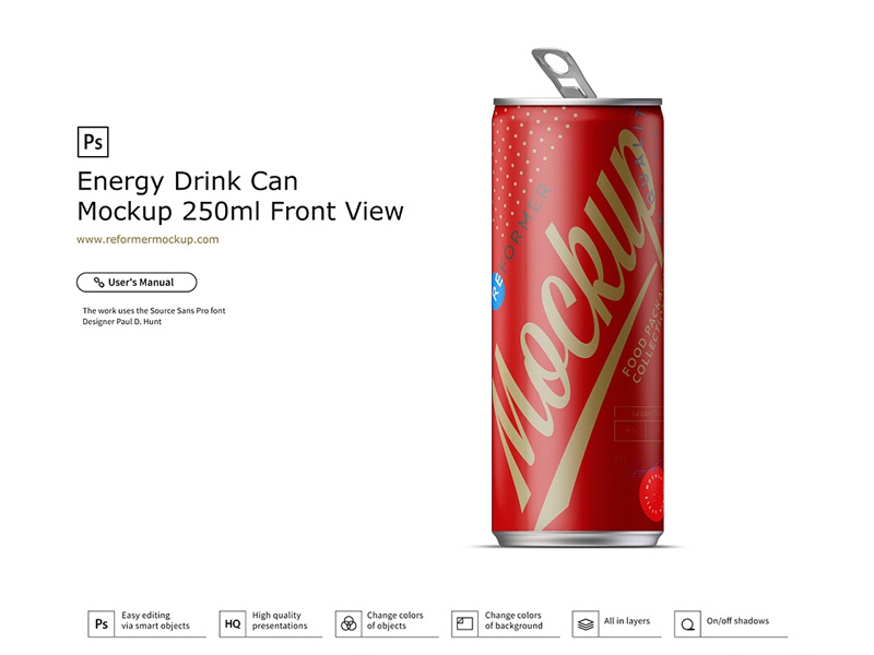 Energy Drink Can Mockup 250ml Front View soda psd mockup packaging design nectar mock-up metal juice exclusive beverage beer aluminum aluminium energy drink cola coke coffee cider carbonated can