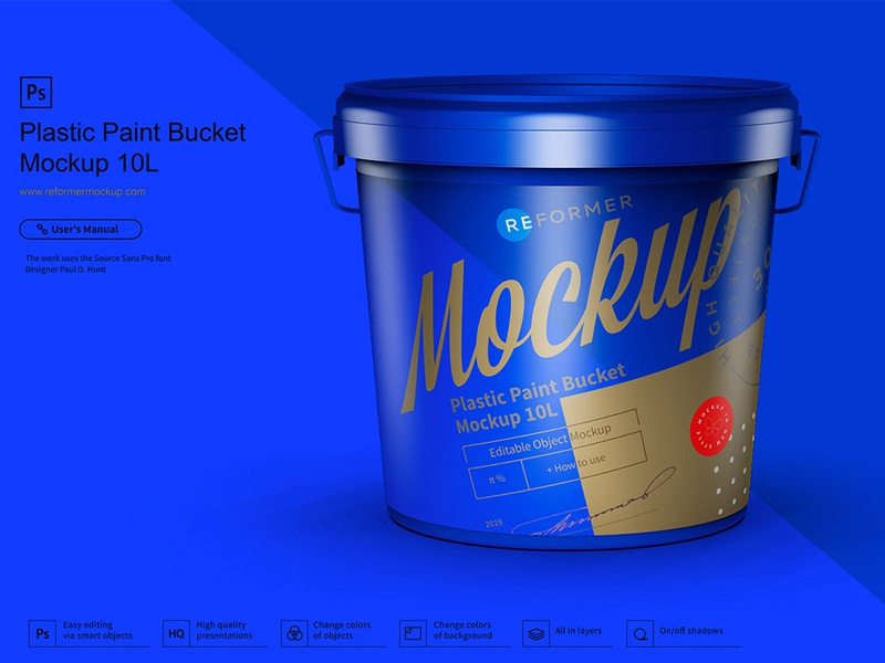 Plastic Paint Bucket Mockup 10L template psd plastic paint pail packaging design packaging mock-up exclusive mockup enamel color can bucket 10l