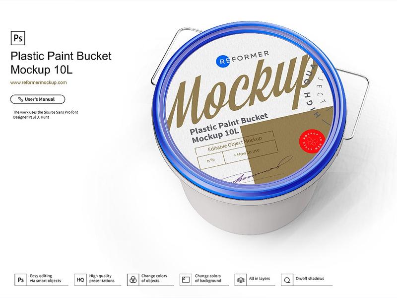 Plastic Paint Bucket Mockup template psd plastic paint pail packaging design packaging mock-up exclusive mockup enamel color can bucket 10l