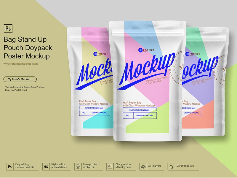 Bag Stand Up Pouch Doypack Poster Mockup window food doypack doy-pack dogs craft bag coffee pouch coffee bag kraft black zipper stand-up pouch package transparent