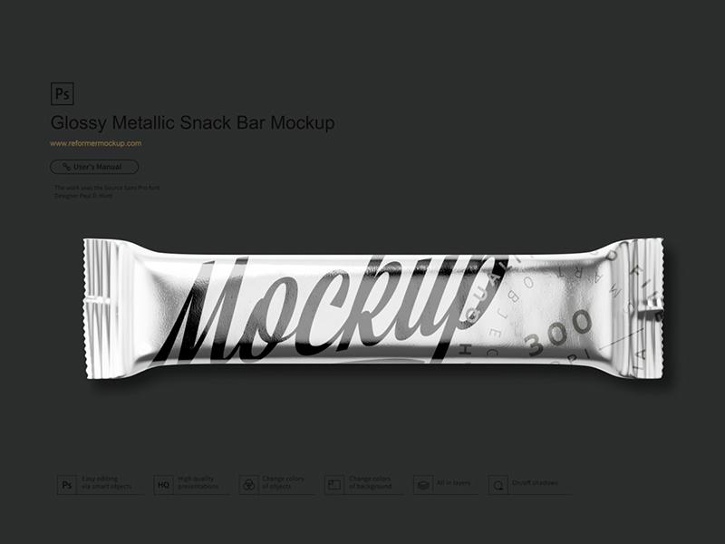 Glossy Metallic Snack Bar Mockup reformer snack bar mockup snack bar snack smart object smart layers smart layer psd mockup psd mock up psd product design packaging mockup