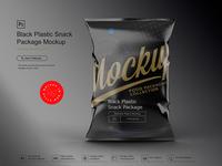 Black Plastic Snack Package Mockup