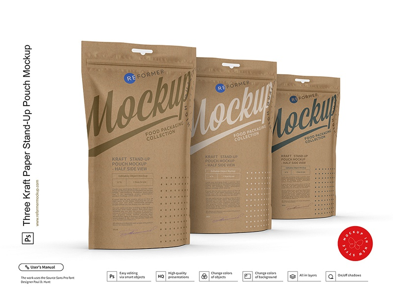 Three Kraft Paper Stand-Up Pouch Mockup window food doypack doy-pack dogs craft bag coffee pouch coffee bag kraft cat-treats zipper stand-up pouch package transparent