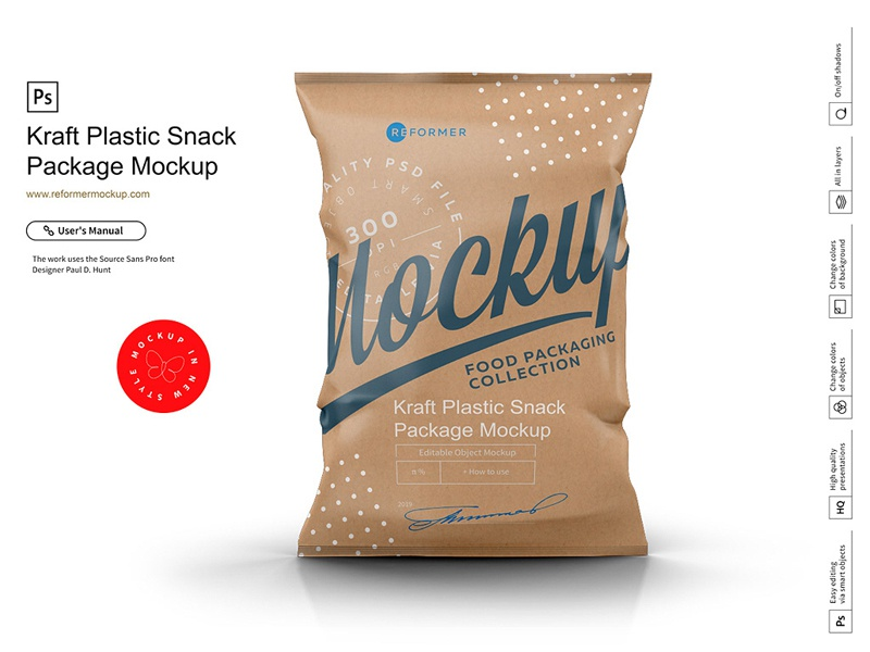 Kraft Snack Package​​​​​​​ Mockup food foil flour flex empty element dried fruit design copy space copy container clean chips canned branding psd mock-up packet packaging package mockup kraft bag