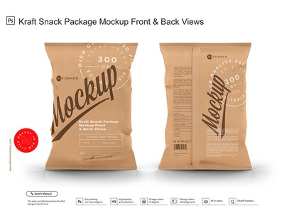 Kraft Snack Package Mockup Front & Back Views