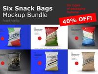 Six Snack Bags Mockup Bundle