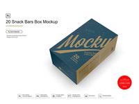 20 Snack Bars Box Mockup