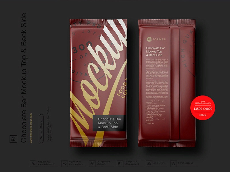 Chocolate Bar Mockup Top & Back Side View template screw product smart object packaging package psd object mockups mockup