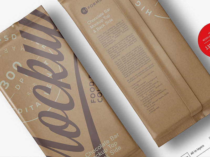 Chocolate Kraft Bar Mockup Top & Back Side View pack mockup mock-up milk chocolate glossy pack paper chocolate bar glossy bar glossy flow pack dark chocolate paper chocolate wrap mockup chocolate pack chocolate bar mockup chocolate bar kraft paper kraft bar chocolate wrap chocolate package chocolate pack mockup