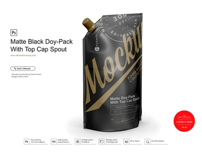 Matte Doy-Pack With Top Cap Spout ¾ template screw product smart object packaging package psd object mockups mockup