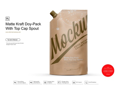 Kraft Doy-Pack With Top Cap Spout template screw product smart object packaging package psd object mockups mockup