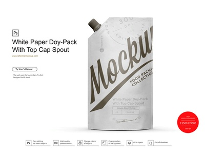 White Paper Doy-Pack With Top Cap Spout Mockup template screw product smart object packaging package psd object mockups mockup