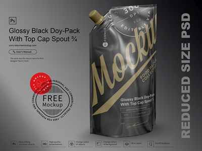 Free Glossy Black Doy-Pack With Top Cap Spout ¾