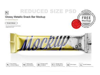 Free  Glossy Metallic Snack Bar Mockup psd product design packaging mockup packaging package muesli bar mockup mock-up granola bar granola glossy snack pack glossy pack glossy food 100g foil flow pack exclusive mockup chocolate candy bar