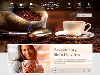Coffeeshop Website Concept @2x webdesign coffee clean fireworks homepage