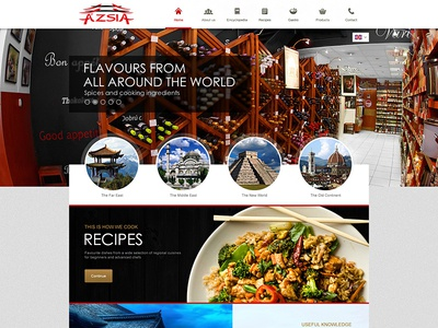 Webdesign concept for a grocery store webdesign asian food webshop clean homepage layout slider red black white gold