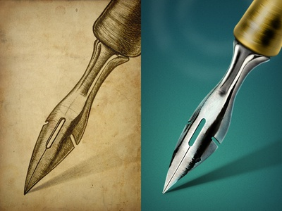 Antique Fountain Pen @2x illustration sketch pen ink metal fountain pen