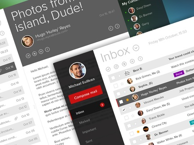 Email Interface Design ui ux inbox interface mail email clean minimal flat chat avatar