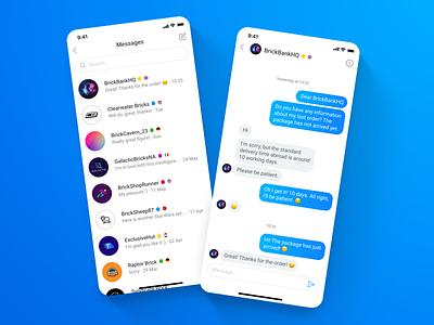 Bricklink - LEGO Marketplace app - 05 Messages shopping app shop messages chat uidesign uxdesign app mobile app mobile ui uxui ux