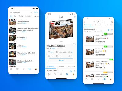 Bricklink - LEGO Marketplace app - 02 Search, Details, List list details search shopping app shop mobile ui app mobile app mobile ux design ui design ux ui design uxui ui ux