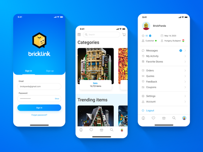 Bricklink - LEGO Marketplace app - 01 Sign in, Main screen, Menu menu mainpage main page sign in shopping app shop mobile ui app mobile app mobile ux design ui design ux ui design uxui ui ux
