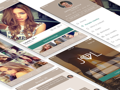 Jewel - Dating App Concept mobile ux ui iphone ios sketch wireframe dating chat app