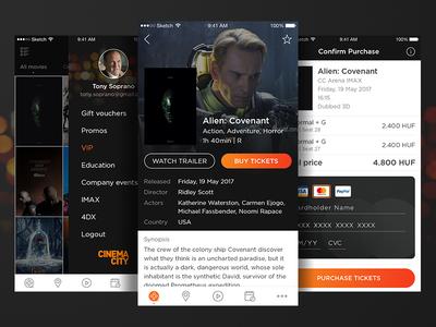 Cinema City - Movie Ticket Booking App Concept #2 cinema ios app booking ticket movie