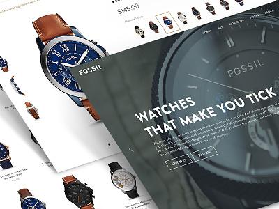 Fossil Watch Shop - Desktop Concept cart bag product mobile desktop shopping shop webshop fossil watch