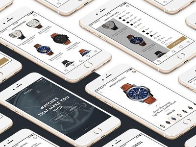 Fossil Watch Shop - Mobile Concept cart bag product mobile desktop shopping shop webshop fossil watch