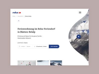 Booking Holiday Apartments 🏘️ switzerland blue video player gallery dropdown share breadcrumbs branding simplicity simple typography whitespace web header video modern booking apartment holiday renting