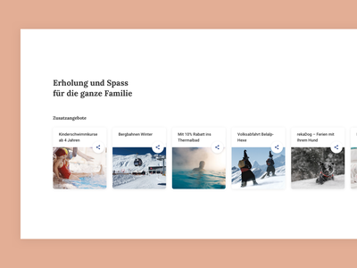 Content Cards switzerland vacation winter snow activities holidays family pictures nature whitespace simple landingpage lora serif materialdesign content design typography share cards content