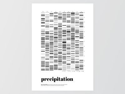 Precipitation Data Visualization print illustration simple minimal poster design bar code diagramm visualization weather precipitation black  white grey black typography poster data diagramm barcode blackandwhite data visualization dataviz