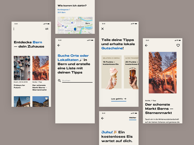 App to Explore Your City 🔎 minimal square emoji feed gallery map ui typography flat product design simple modern city guide tour city scandinavian mobile app guide