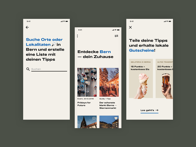 City Guide 🏙️ city search voucher application pastel switzerland explore feed product design simple minimal typography modern app mobile flat city guide