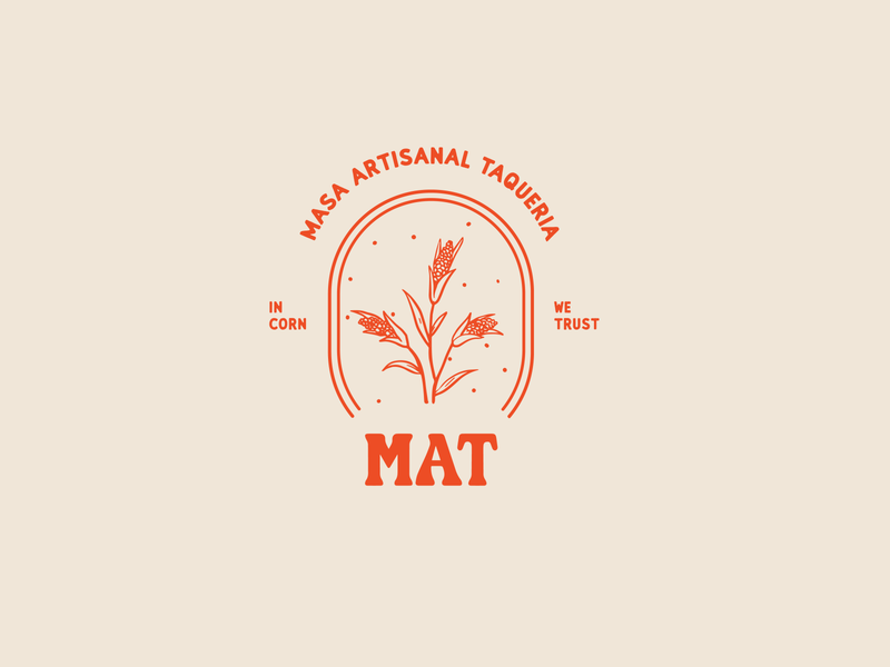 Masa Artisanal Taqueria taqueria masa corn illustration red logo typography branding design