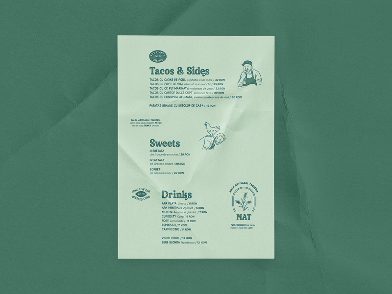 MAT Menu artisanal masa menu taco taqeria resturant green logo typography branding design
