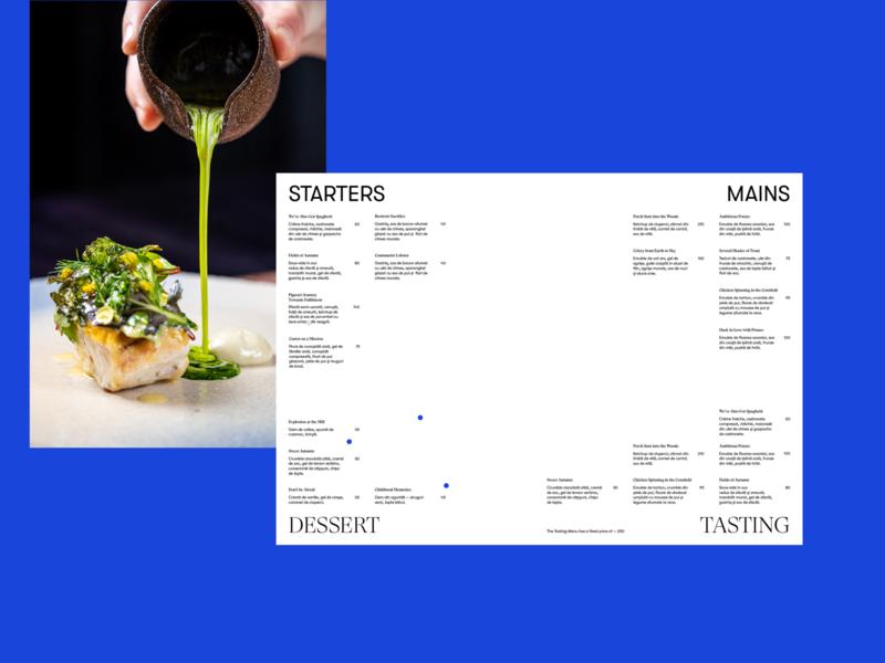KANÉ Menu typography design branding menu design tasting menu main dessert starter fine dining restaurant menu menu