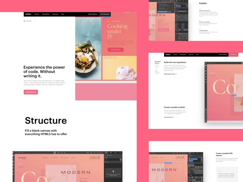 Webflow feature pages - Designer designer design features interface webflow